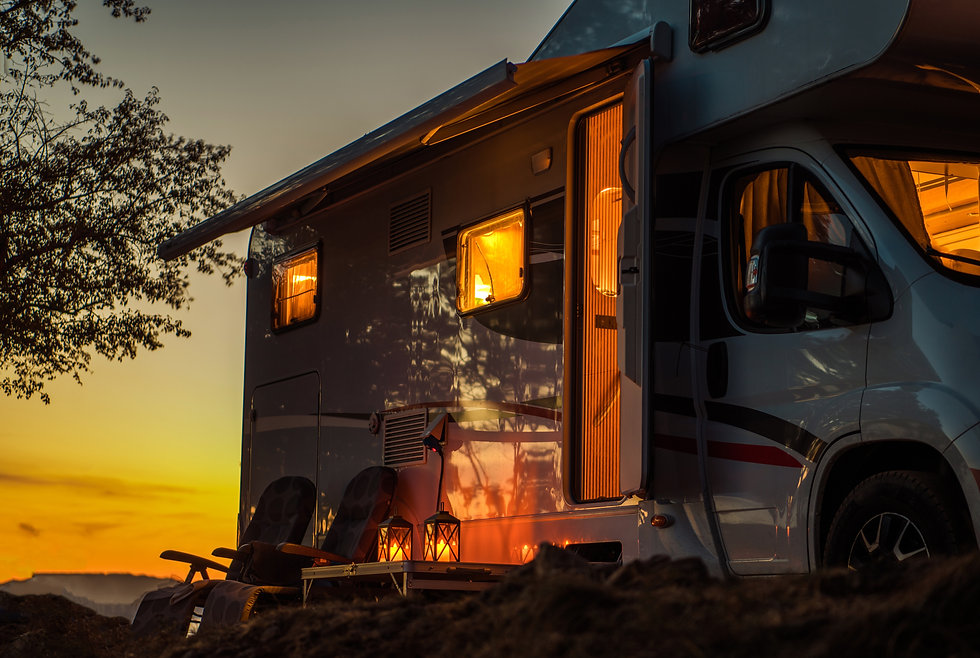 Scenic RV Camping Spot During Sunset. Cl