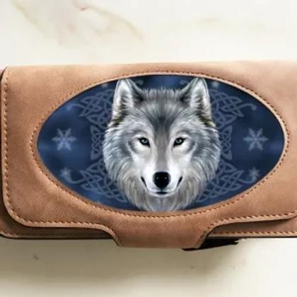 3D Wolf Suede Purse