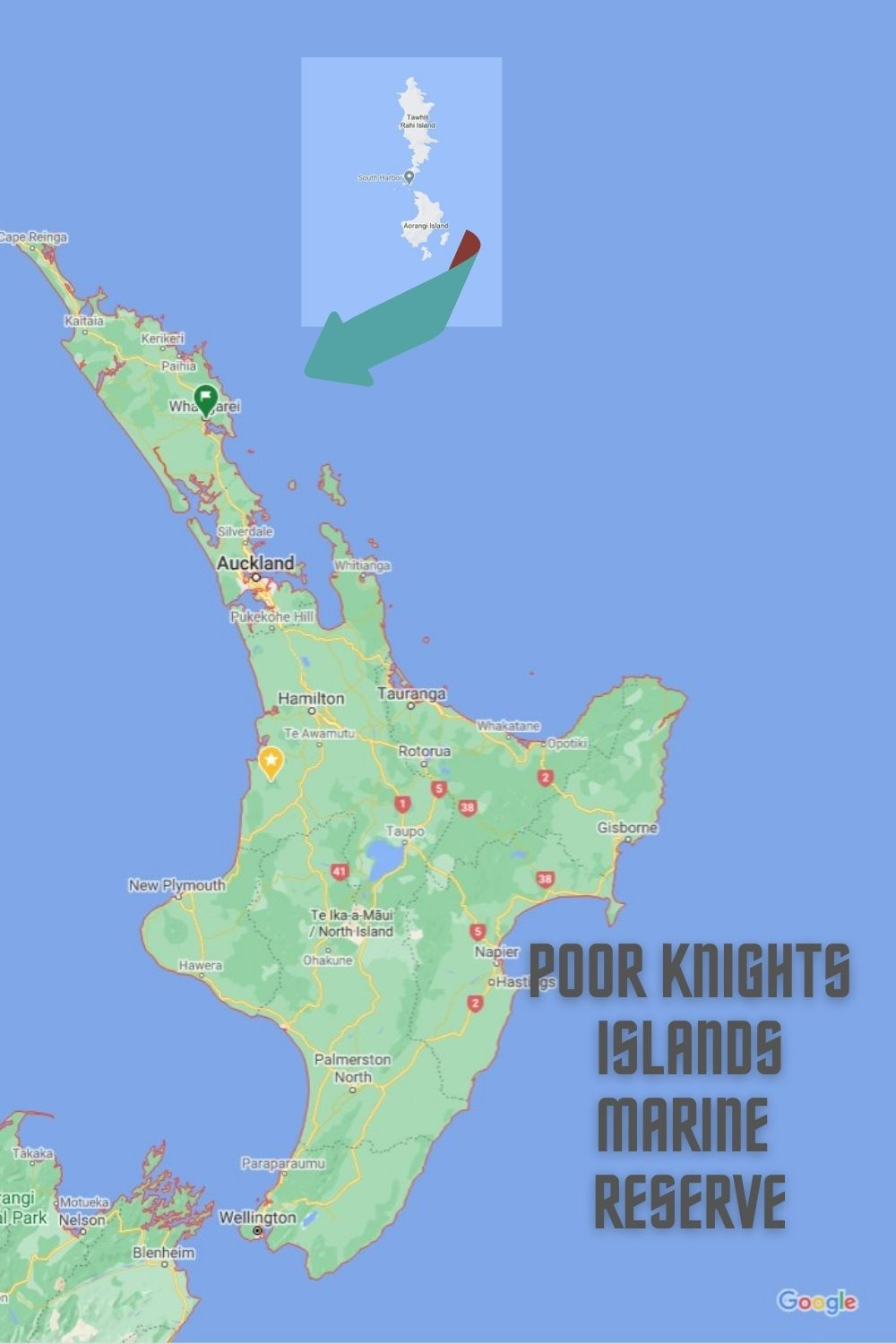Map of North Island New Zealand showing map location of the Poor Knights Islands