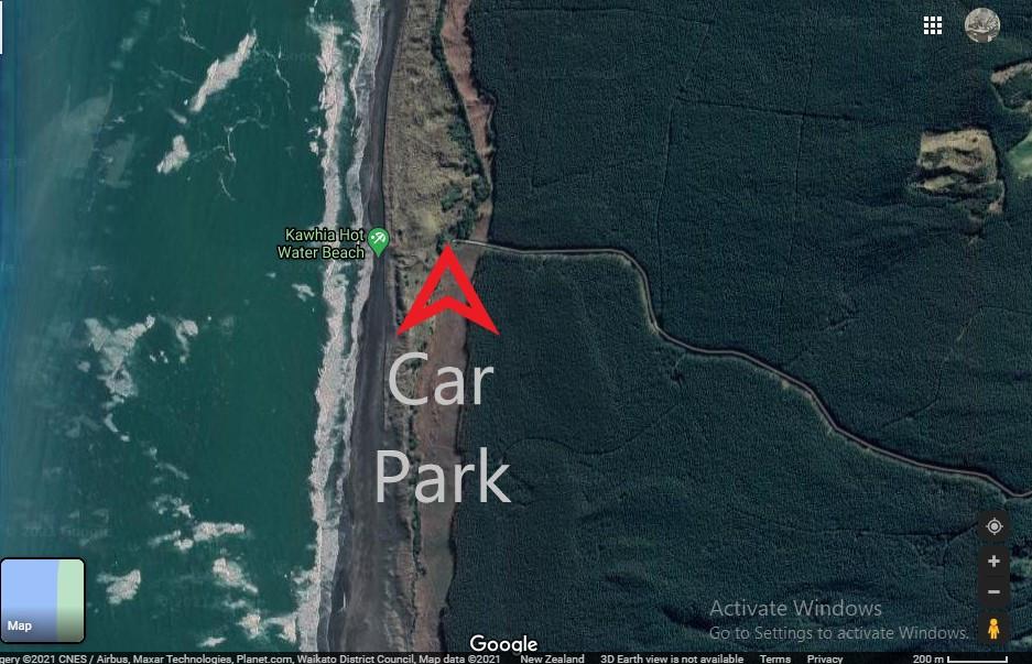Location for digging at Kawhia Hot Water Beach