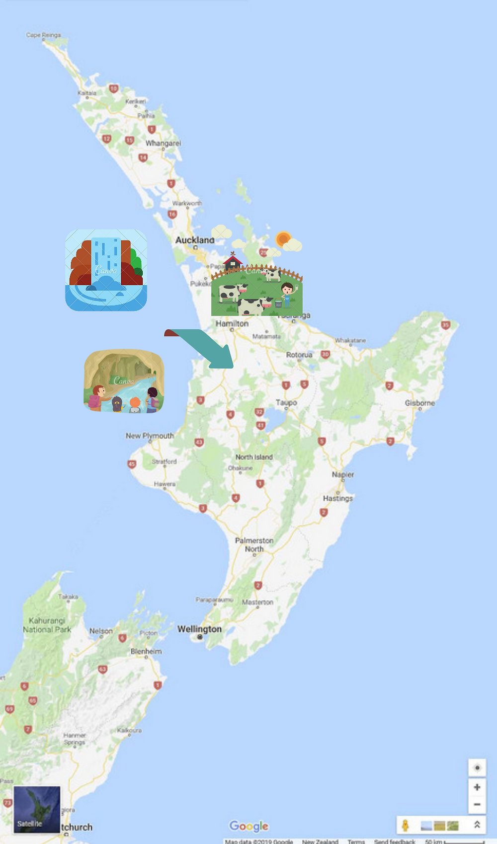 Touring map of Waitomo Region - Waitomo Caves