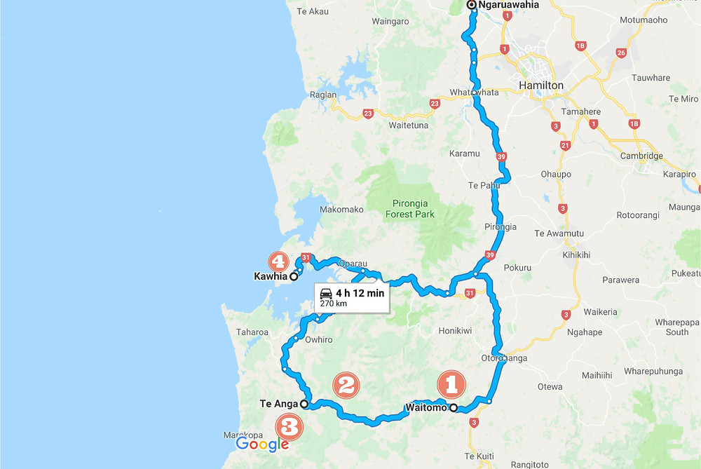 Map showing Waitomo self drive day trip tour