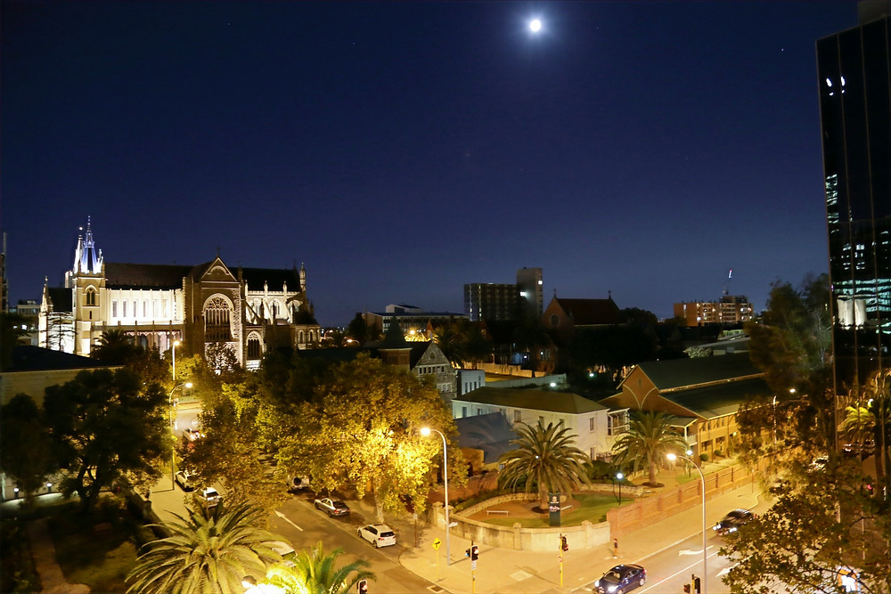 Night view from The Travel Lodge balcony
