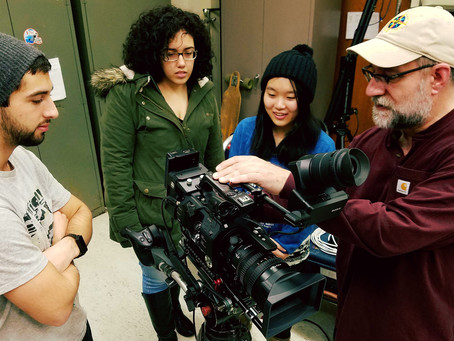 Ted Yasi visits Bennett's Media Field Production class.