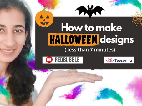 How to make quick and easy Halloween design for stickers to sell on Redbubble and Teespring?