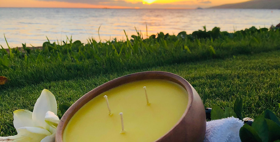 Tropical Pineapple Soy Wax Candle, 3 Wick Large Wood Bowl, Yellow, Smells Like Sweet Fresh Cut Pineapple