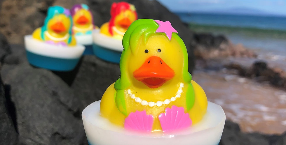 Green Mermaid Rubber Ducky Embedded Inside Gentle Hypoallergenic Glycerin Soap with Coconut Oil, Light Coconut Scent