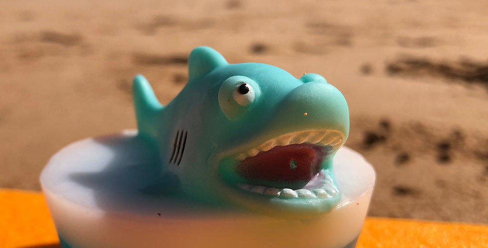 Blue Shark Toy Embedded Inside Gentle Hypoallergenic Glycerin Soap with Coconut Oil, Light Coconut Scent