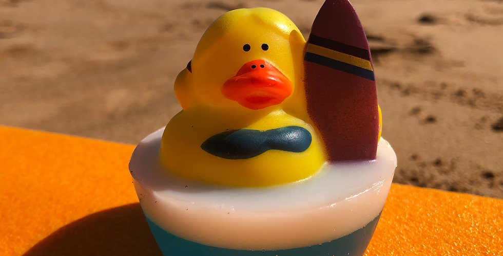Surfer Girl Purple Rubber Ducky Embedded Inside Gentle Hypoallergenic Glycerin Soap with Coconut Oil, Light Coconut Scent