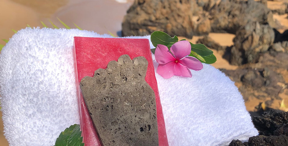 Natural Lava Rock Foot Shaped Pumice Stone Embedded Inside Plumeria Scented Soap