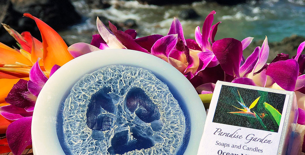 Ocean Mist Glycerin Loofah Soap.  Blue & White in Color.  Smells Like A Spray of Ocean Water with Soft Notes of Sandalwood