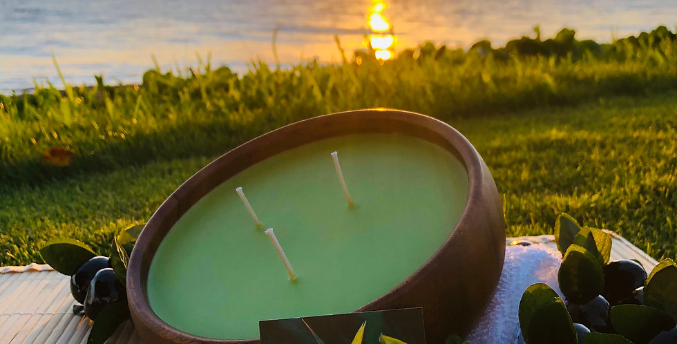 Lemongrass Soy Wax 3 Wick Large Wood Bowl Candle.  Green in Color.  Smells like Bright Lemony Zing with Grassy Notes.
