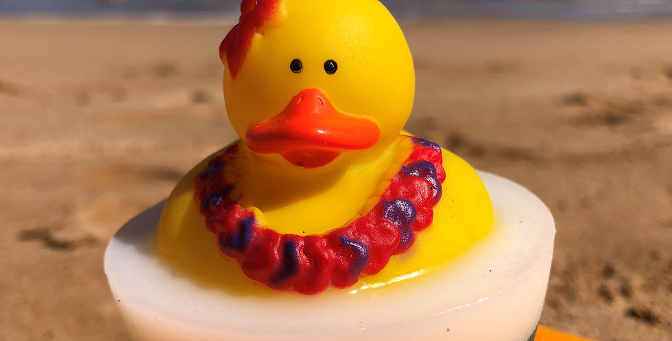 Rubber Ducky with Pink Flower Lei Embedded Inside Gentle Hypoallergenic Glycerin Soap with Coconut Oil, Light Coconut Scent