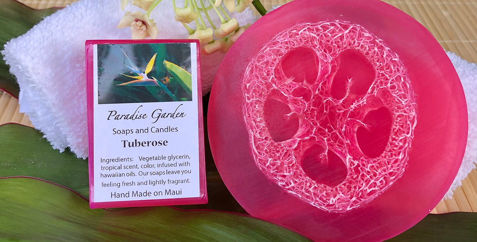 """Tuberose Glycerin Loofah Soap.  Magenta in Color.   This sultry """"night fragrance"""" flower is a strong and alluring scent."""