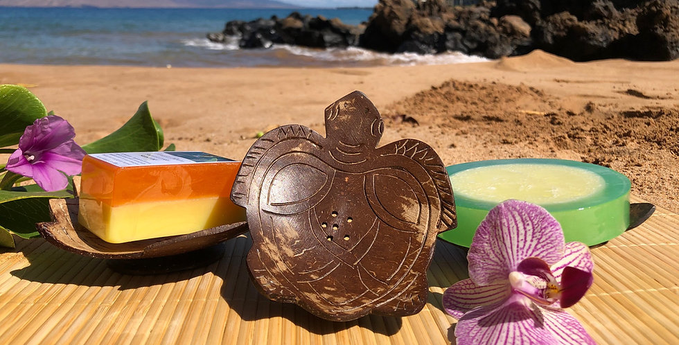 Sea Turtle Shaped Hand Carved Coconut Shell Soap Dish