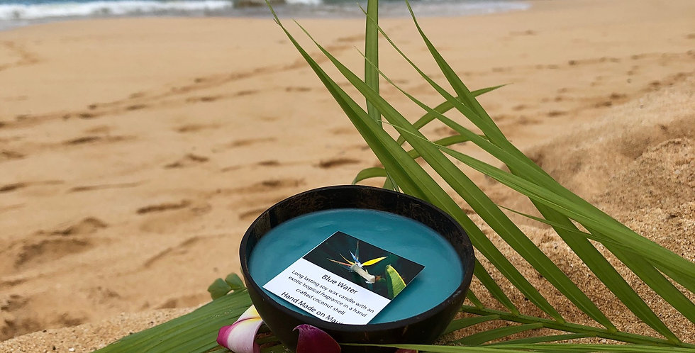 Blue Water Soy Wax Candle in a Polished Coconut Shell.  Turquoise in Color, Smells Fresh, Crisp, & Clean.