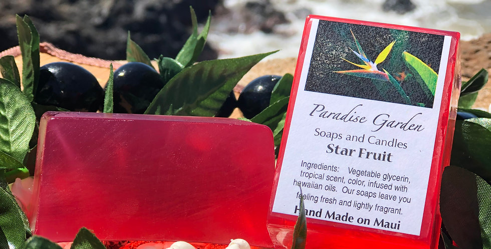 Star Fruit Glycerin Bar Soap.  Red in Color.  Smells Like Star Fruit, Kiwi, Strawberry, & Plum.
