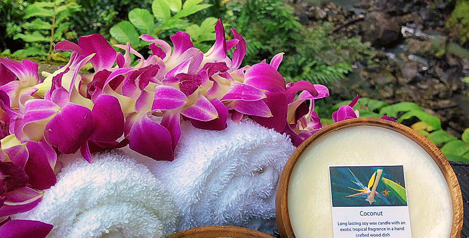 Coconut  Soy Wax Candle in a Monkeypod Wood Bowl.  White in Color, Smells Like Creamy, Tropical, Nutty, Sweetness