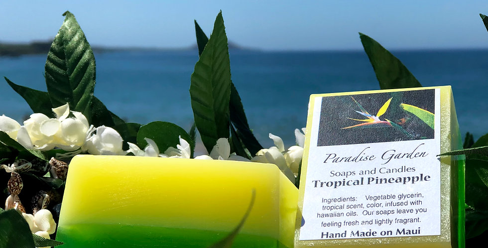Tropical Pineapple Glycerin Bar Soap.  Yellow & Green in Color.  Smells Like a Fresh Cut Sweet Island Pineapple