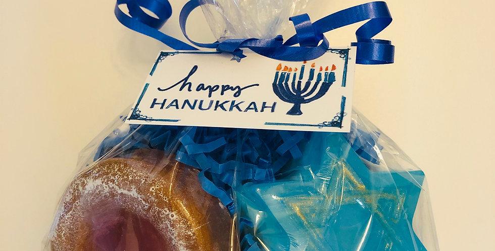 Happy Hanukkah Soap Gift Bag - 1 Star of David & 1 Jelly Donut Soap