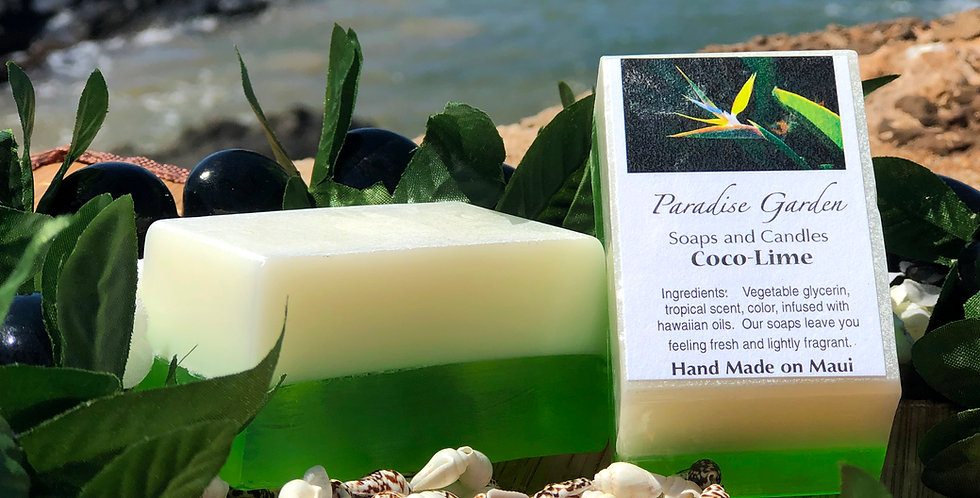 Coco Lime Glycerin Bar Soap.  White & Green in Color.  Smells Like Zesty Lime Coupled with Creamy Tropical Coconut