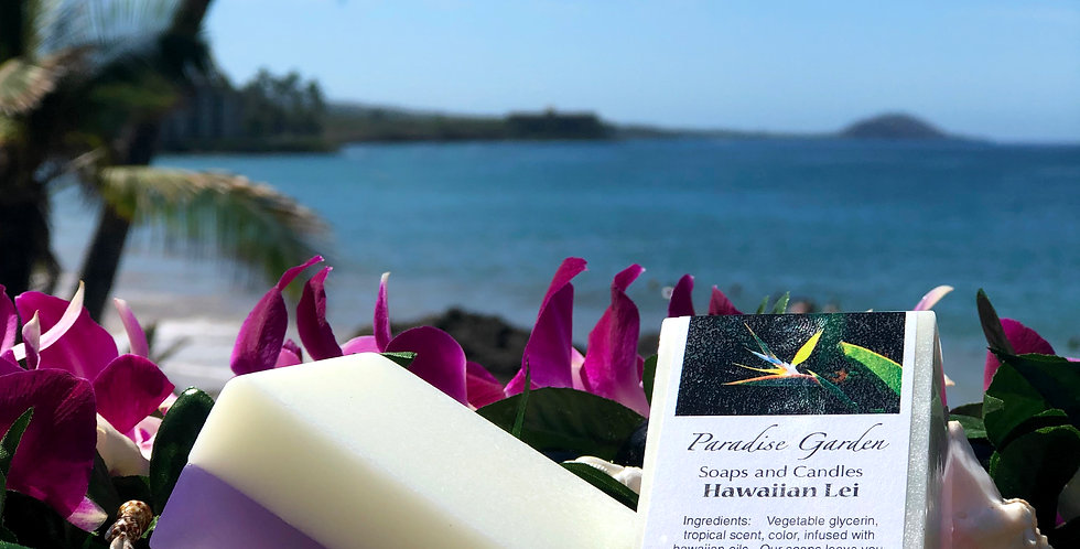 Hawaiian Lei Glycerin Bar Soap.  Purple & White in Color.  Smells Like a Fresh Orchid Lei made with Aloha