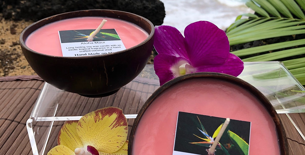 Aloha Maui Soy Wax Candle in a Polished Coconut Shell Container Peach in Color Smells Like Waterlily Sweet Pea and Peonies