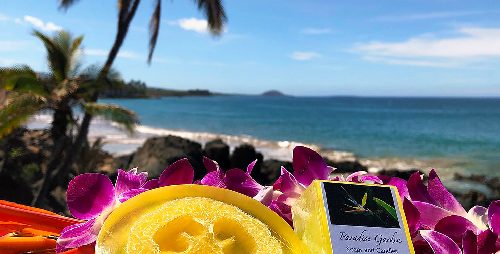 Pikake Glycerin Loofah Soap.  Yellow in Color.  Smells Like an Elegant Hawaiian Jasmine, Will Leave You Dreaming of Paradise