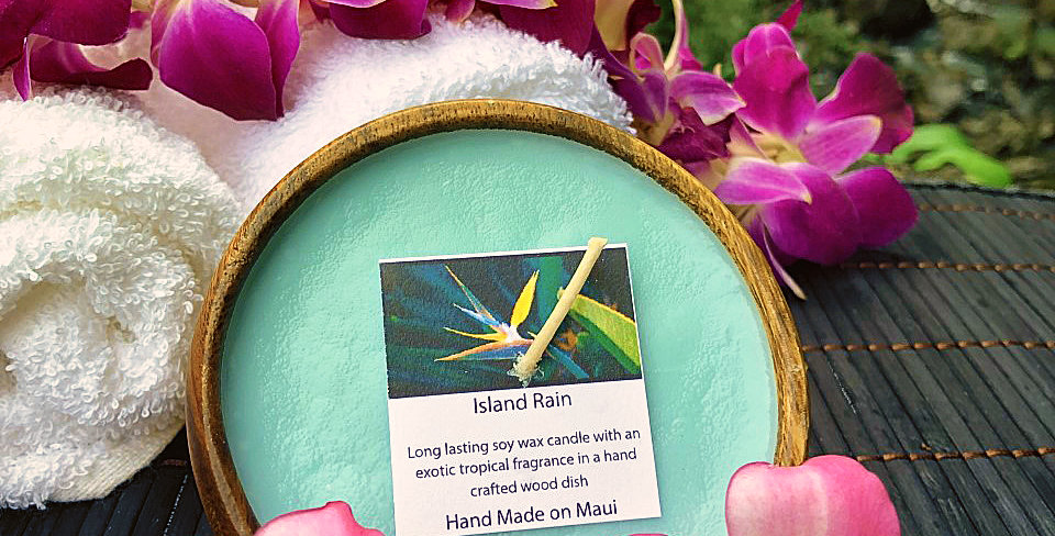 Island Rain Soy Wax Candle in a Monkeypod Wood Bowl.  Light Turquoise Color, Smells Like a Dew Kissed Rainforest