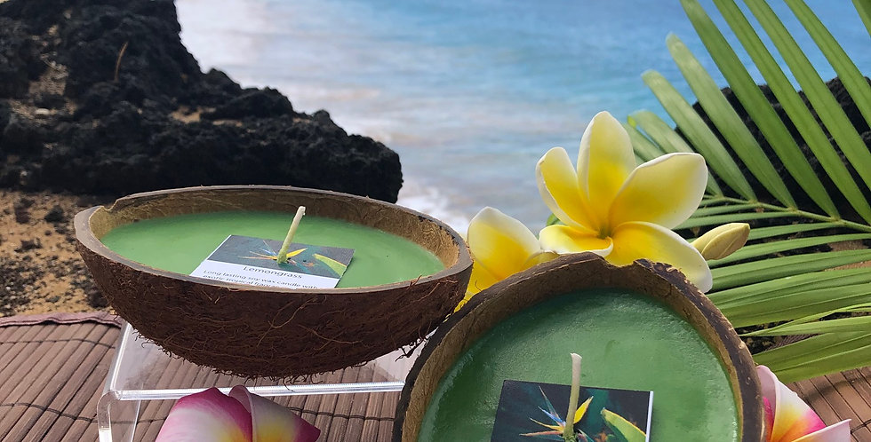 Lemongrass Soy Wax Candle in Floating Coconut Shell.  Green in Color, Smells like Lemony Zing with Grassy Notes!