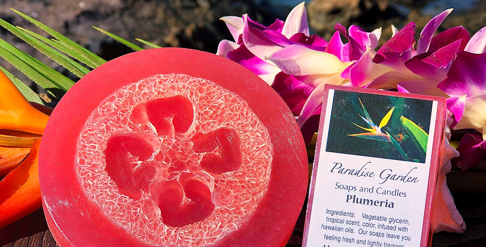 Plumeria Glycerin Loofah Soap.  Pink in Color.  Smells like the Intoxicating Flowers of the Islands