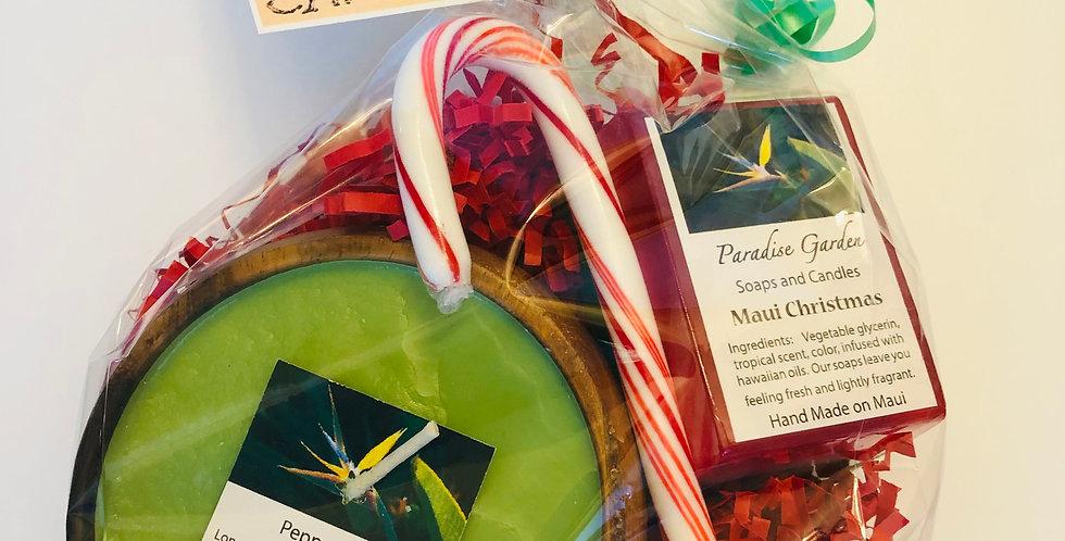 Holiday Candle & Maui Christmas Bar Soap Gift Bag