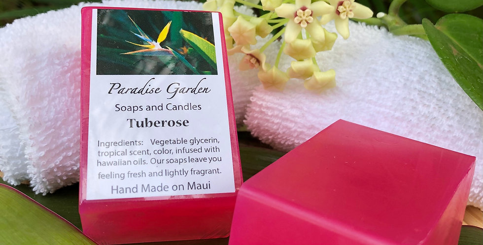 """Tuberose Bar Soap.  Magenta in Color.  This sultry """"night fragrance"""" flower is a strong and alluring scent."""