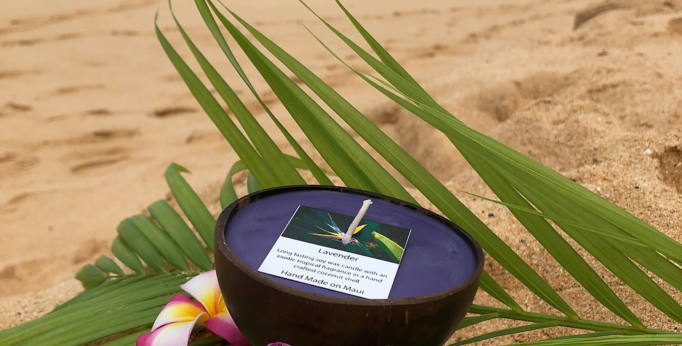 Lavender Soy Wax Candle in Polished Coconut Shell with Standing Base, Purple in Color, a Relaxing Meditative Floral Scent