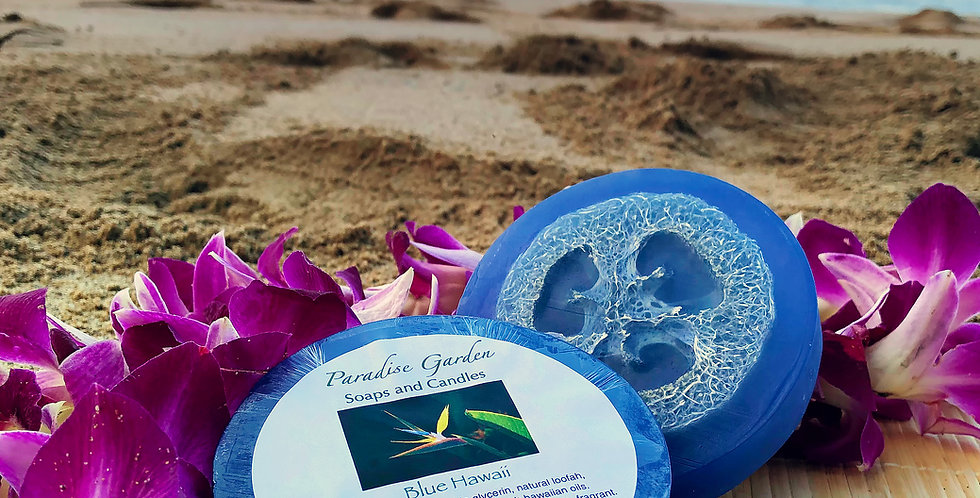 Blue Hawaii Glycerin Loofah Soap.  Dark Blue in Color.  Smells Clean and Invigorating Like Blue Waters of Hawaii