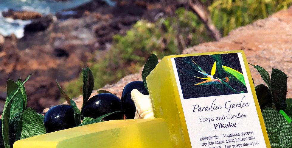 Pikake Glycerin Bar Soap.  Yellow in Color.  Smells Like Elegant Hawaiian Jasmine