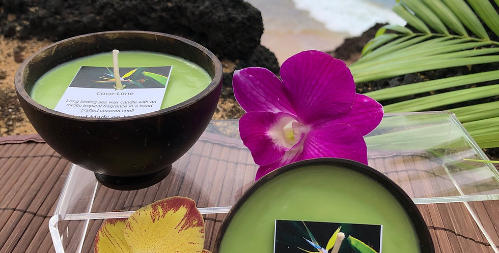 Coco Lime Soy Wax Candle in a Polished Coconut Shell.  Green in Color, smells like Zesty Lime Coupled with Creamy Coconut.