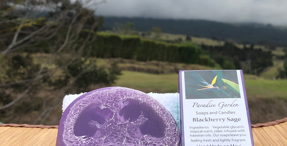 Blackberry Sage Small Loofah Soap.  Purple in Color.  Smells like Blackberries Infused with Sage and Basil Herbs