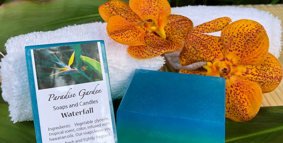 Waterfall Glycerin Bar Soap.  Blue and Teal in Color.  Smells like Clean Waterfall Flowing through a Rain Forest.
