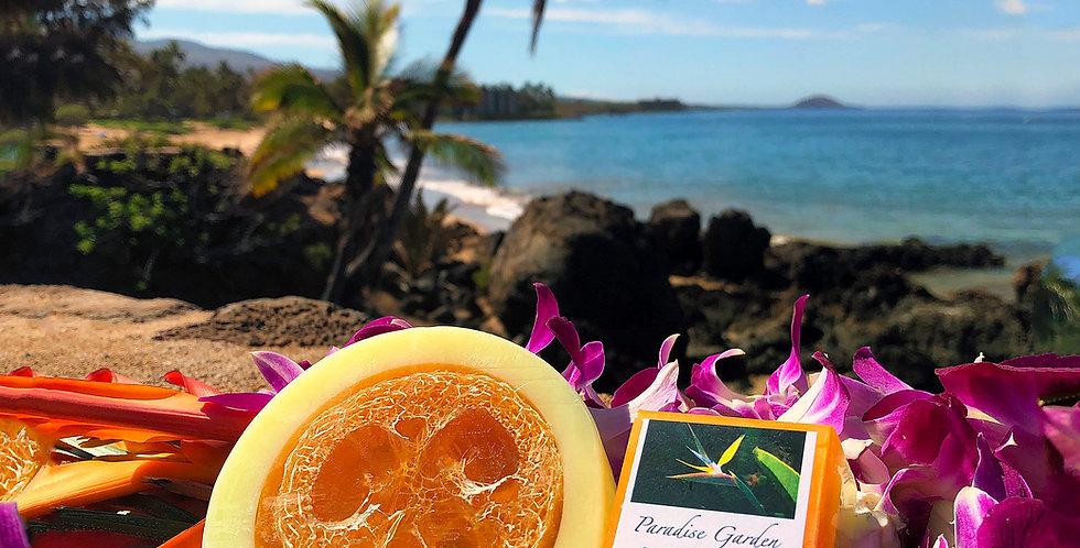 Sunshine Glycerin Loofah Soap.  Yellow & Orange in Color.  Smells Like a Joyful & Happy Blend of Oranges & Citrus Fruits.