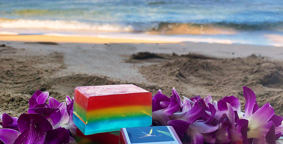 Rainbow Shave Ice Glycerin Bar Soap.  Rainbow Multi Color.  Smells like Sweet, Tart, and Tangy Passion Fruit.