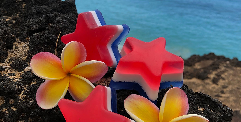 Red White and Blue Star Shaped Glycerin Soap. Smells Like Strawberry Lemonade.