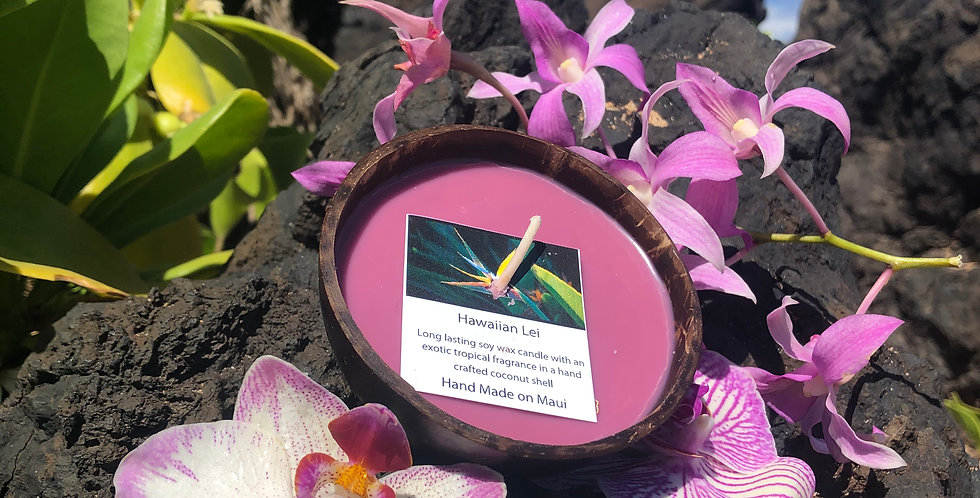 Hawaiian Lei Soy Wax Candle in a Polished Coconut Shell.  Purple in Color.  Smells like a Fresh Orchid Flower Lei.