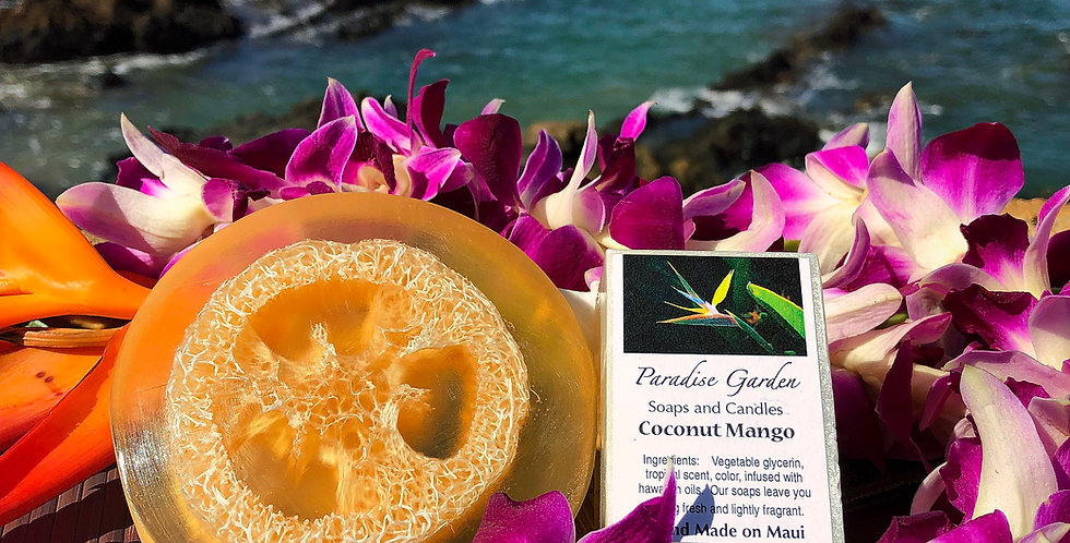 Coconut Mango Glycerin Loofah Soap.  Gold in Color.  Smells Like Honey Mango & Creamy Coconut with Vanilla
