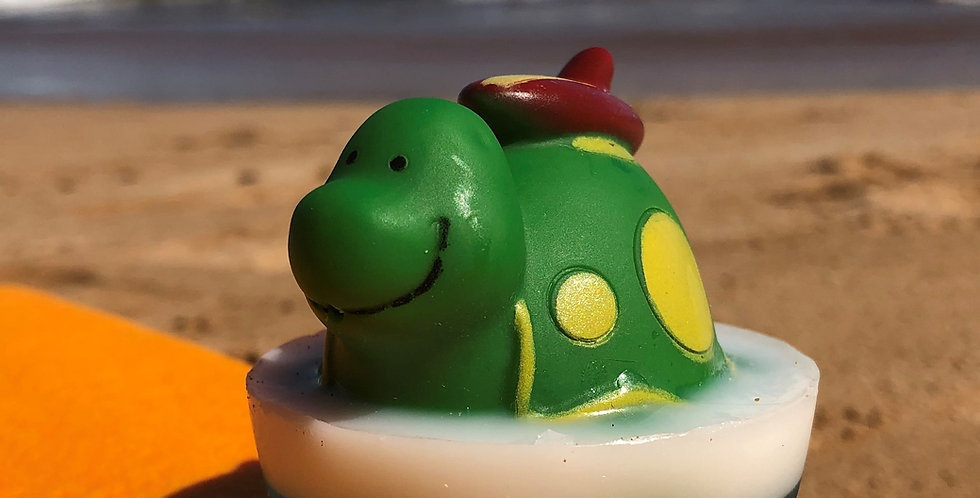 Surfing Turtle Bath Squirt Soap Embedded Inside Gentle Hypoallergenic Glycerin Soap with Coconut Oil, Light Coconut Scent