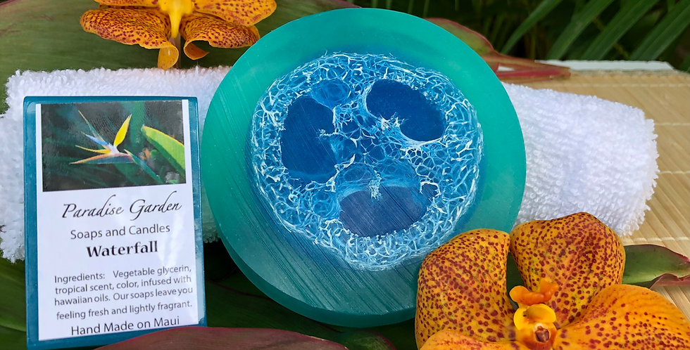 Waterfall Glycerin Loofah Soap.  Blue and Teal in Color.  Like a Clean Waterfall Flowing through a Lush Green Rain Forest.