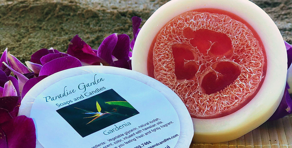 Gardenia Glycerin Loofah Soap.  Pink & White in Color.  Smells Like a Lush and Captivating Spicy White Floral Scent.