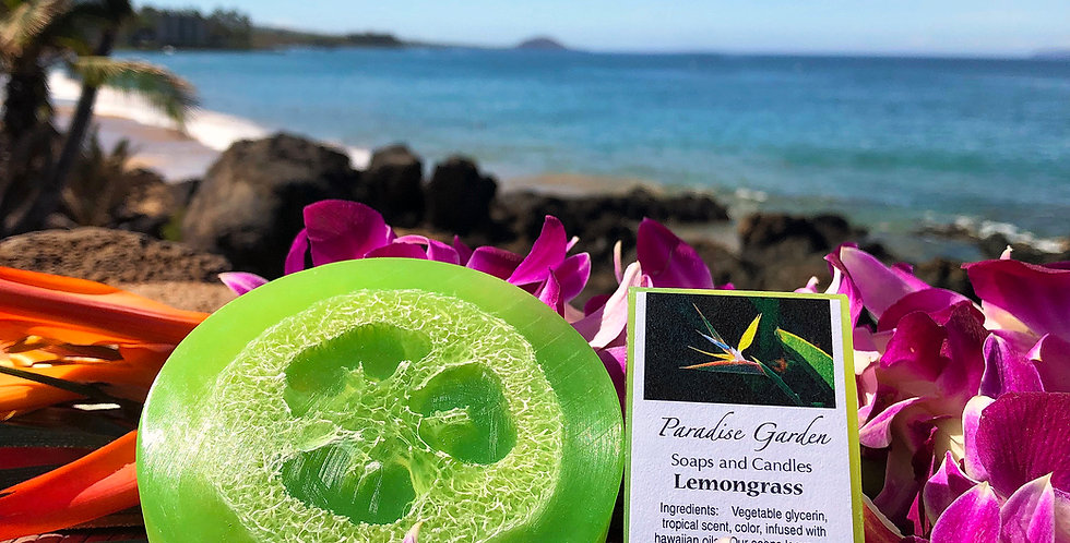 Lemongrass Glycerin Loofah Soap.  Lime Green in Color.  Smells Like Bright Lemony Zing with Light Grassy Notes