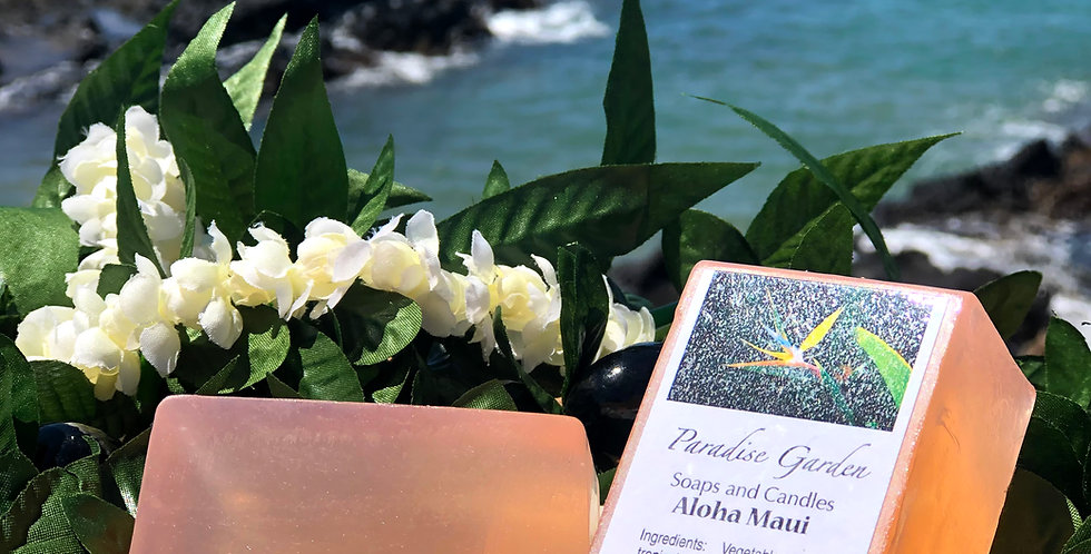 Aloha Maui Glycerin Bar Soap.  Peach in Color.  Smells like Waterlily, Sweet Pea, and Peonies