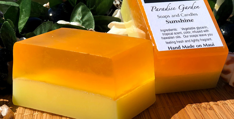 Sunshine Glycerin Bar Soap.  Orange & Yellow in Color.  Smells Like a Blend of Citrus Happiness